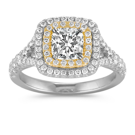 Double Halo Diamond Engagement Ring in 14k Two-Tone Gold