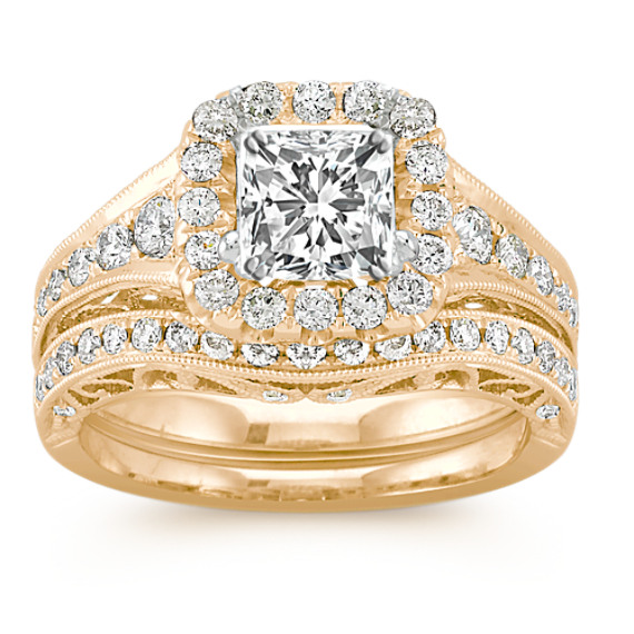 Halo Vintage Diamond Wedding Set in 14k Yellow Gold