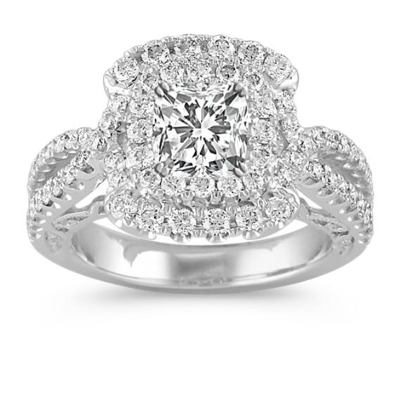 Split Shank Double Halo Vintage Diamond Engagement Ring