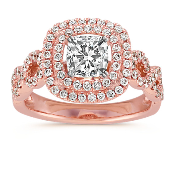 Cushion Double Halo Infinity Diamond Engagement Ring in 14k Rose Gold