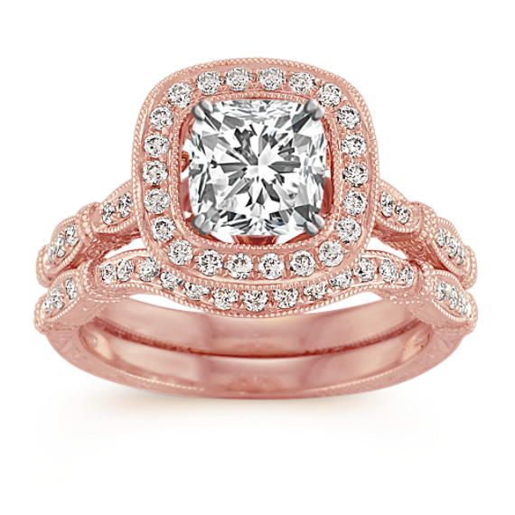 Halo Vintage Rose Gold Diamond Wedding Set with Pavé Setting
