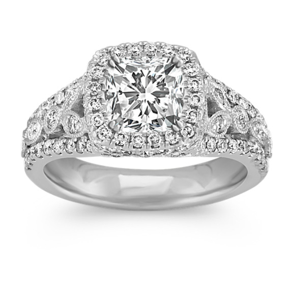 Halo Engagement Ring with Round Pavé and Bezel-Set Diamonds