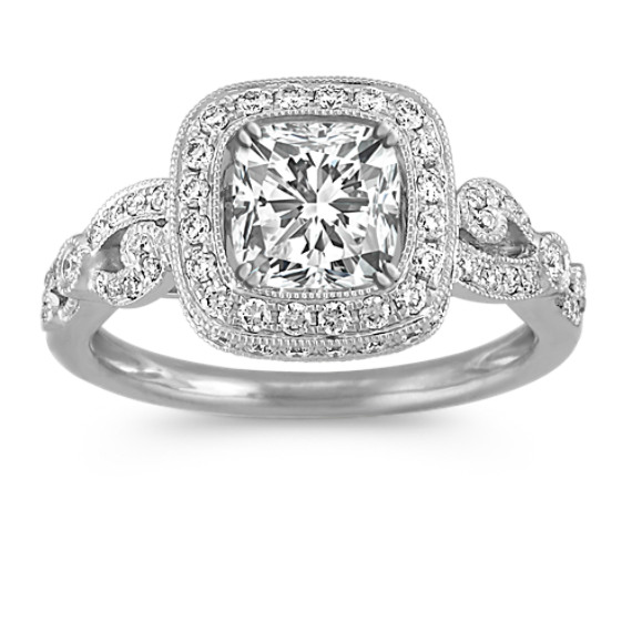 Round Diamond Halo Engagement Ring with Vintage Detailing