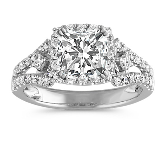 Cushion Halo Engagement Ring with Pavé-Set Diamonds