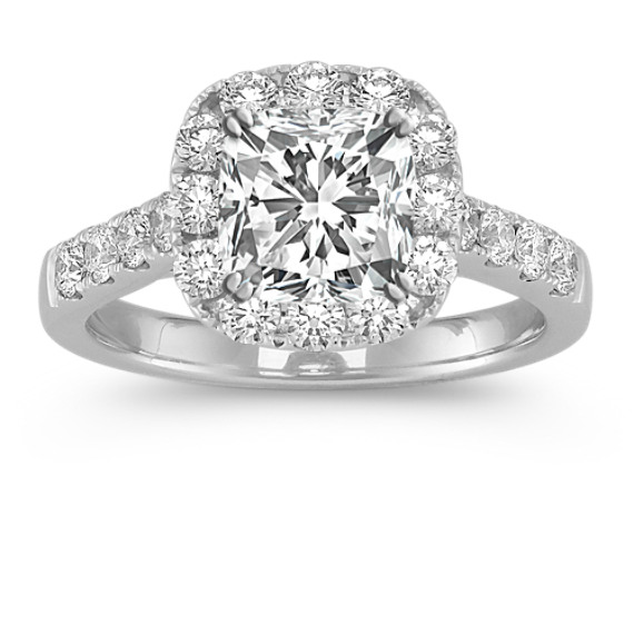 Halo Cathedral Engagement Ring with Pavé-Set Diamonds