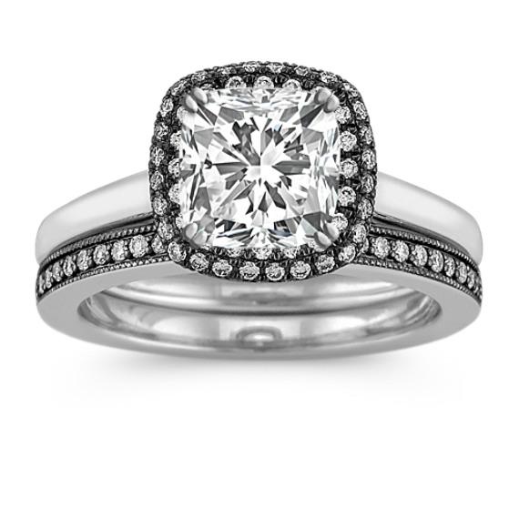 Halo Diamond Wedding Set with Black Rhodium and Pavé Setting