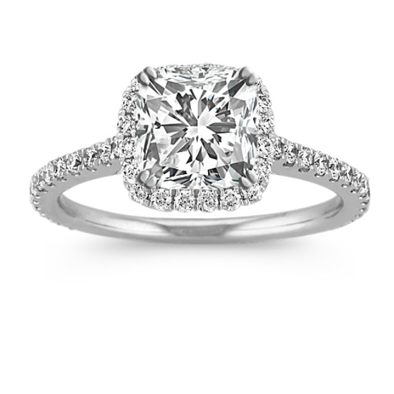 Halo Diamond Engagement Ring for 1.50 Carat Cushion Cut