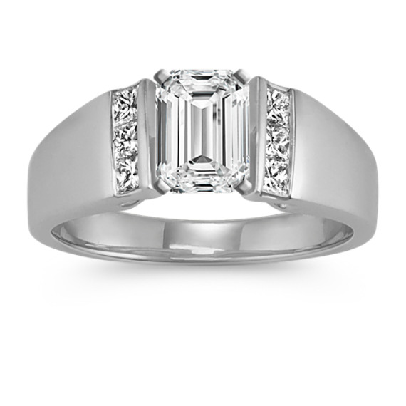 Princess Cut Diamond Cathedral Engagement Ring with Channel Setting