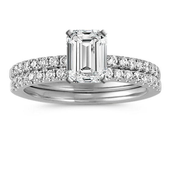 Diamond Wedding Set with Pavé-Setting