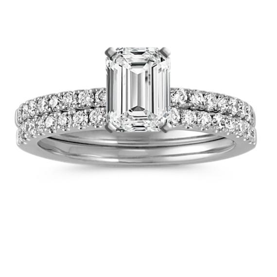Diamond Wedding Set with Pavé-Setting