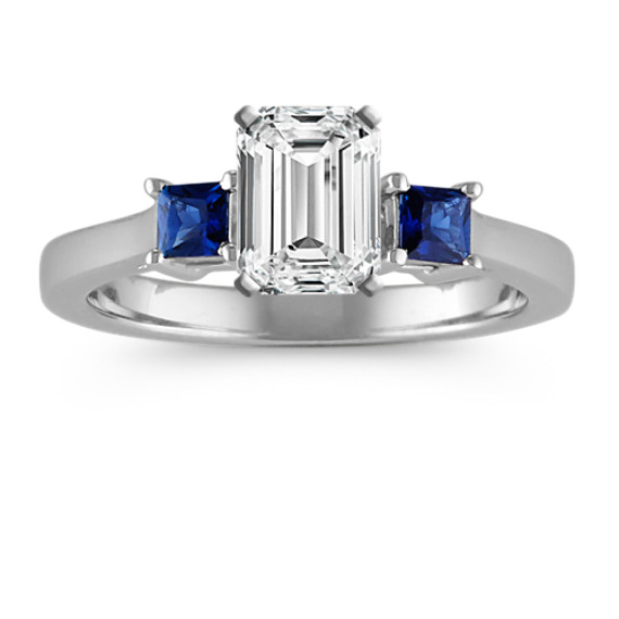 Three-Stone Princess Cut Sapphire Engagement Ring