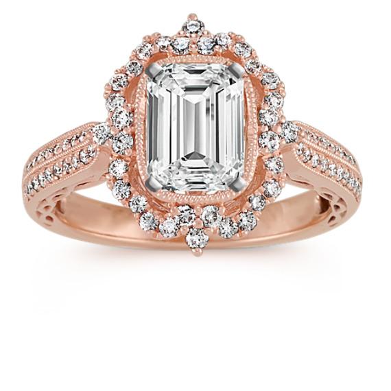 Halo Vintage Engagement Ring In 18k Rose Gold Shane Co