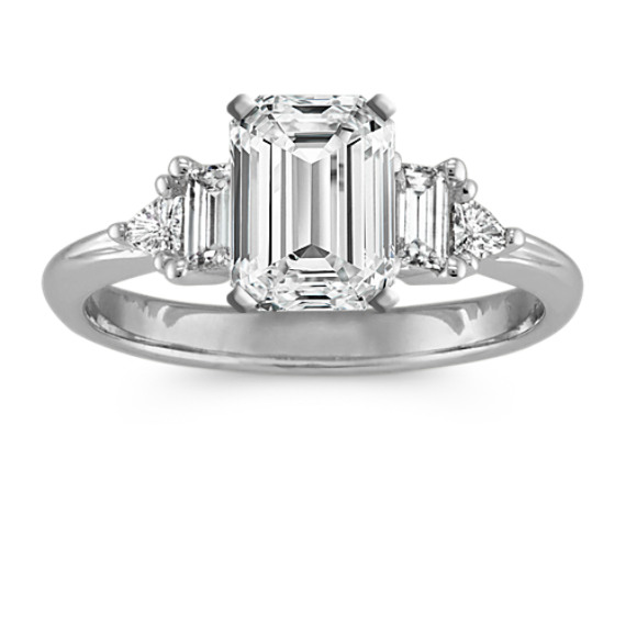 Three-Stone Baguette 14k White Gold Engagement Ring with Trillion Diamonds