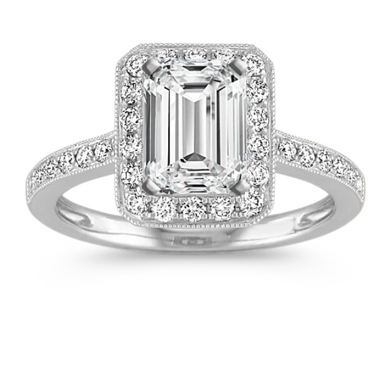 Vintage Emerald Halo Diamond Engagement Ring with Pavé-Setting