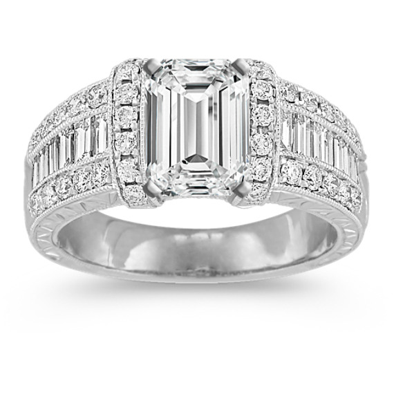 Vintage Baguette and Round Diamond Engagement Ring with Channel-Setting