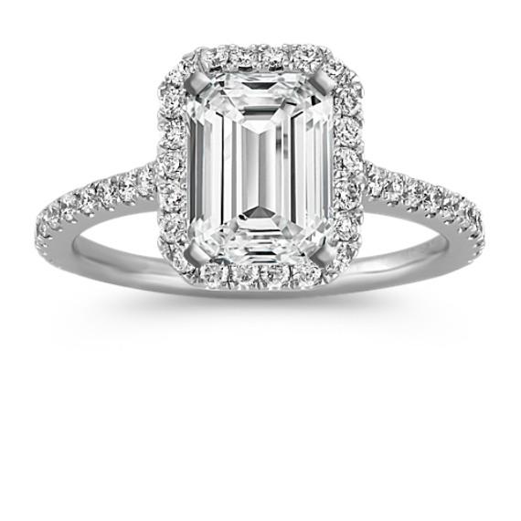 Halo Diamond Engagement Ring For 2 00 Carat Emerald Cut