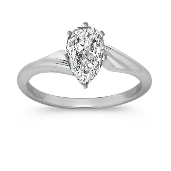 Swirl Solitaire 14k White Gold Engagement Ring
