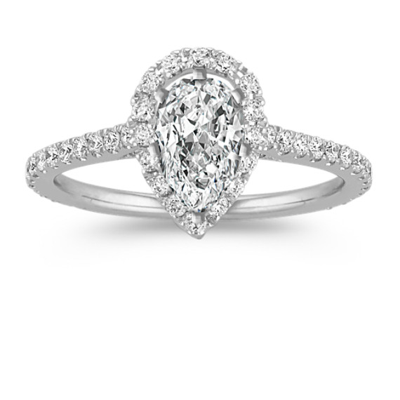 Halo Diamond Engagement Ring For 100 Carat Pear Shaped