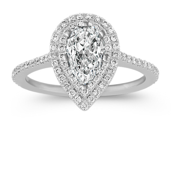 Pear Halo Engagement Ring with Pavé-Set Diamonds