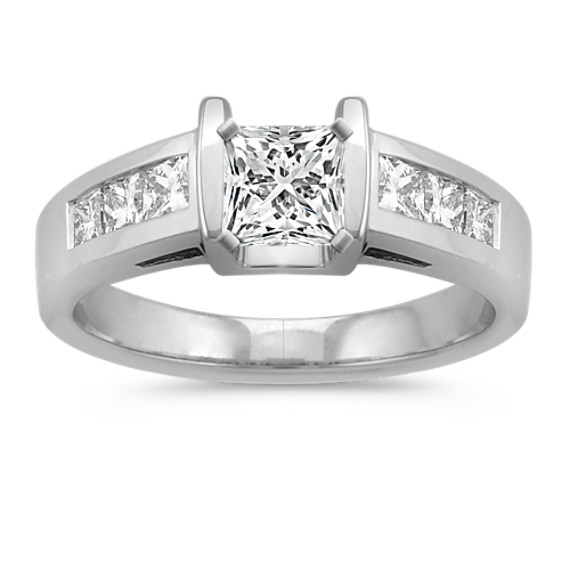 Tension-Set Princess Cut Diamond Engagement Ring