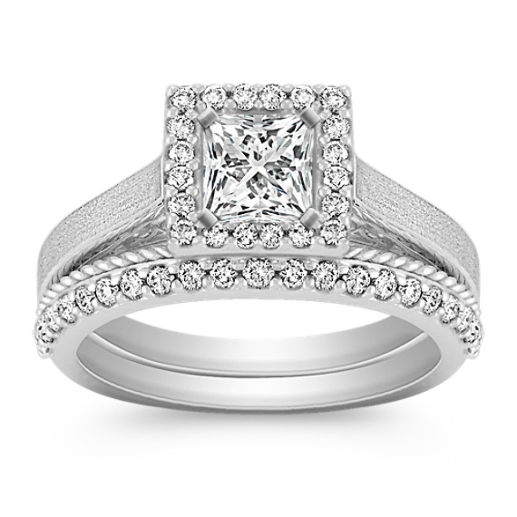 Halo Diamond Wedding Set with Pavé Setting and Rope Detail Band