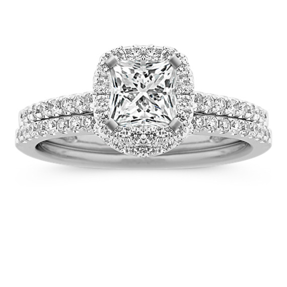 Halo Diamond Wedding Set with Pavé-Set Round Diamonds