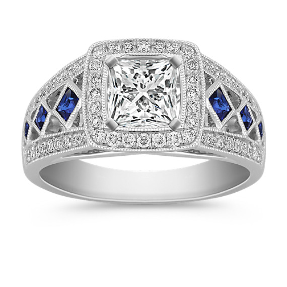 Halo Princess Cut Sapphire and Round Diamond Engagement Ring
