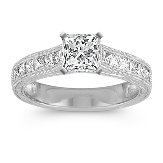 Vintage Cathedral Princess Cut Diamond Engagement Ring with Channel-Setting