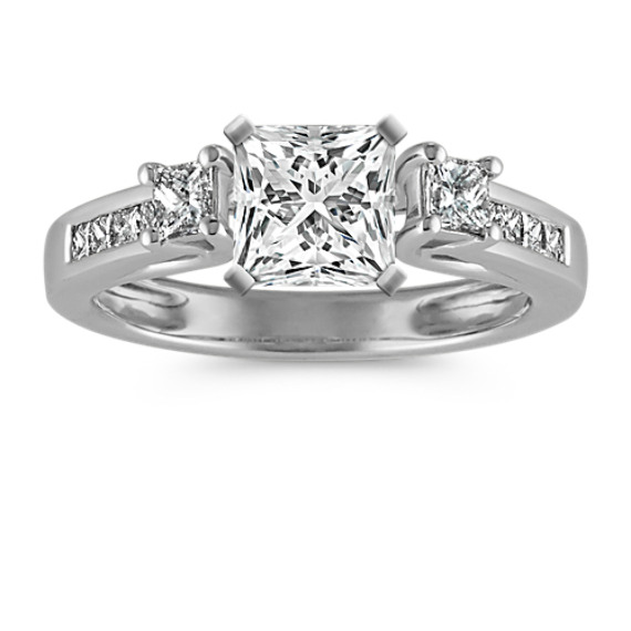 Three-Stone Cathedral Princess Cut Diamond Engagement Ring