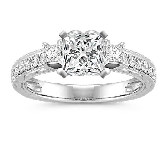 Princess Cut Diamond Engagement Ring with Pave Setting