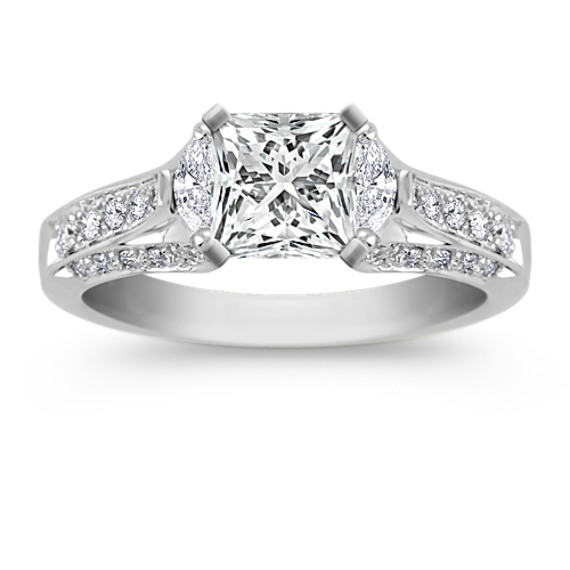 Three-Stone Marquise and Round Diamond Engagement Ring with Pave Setting