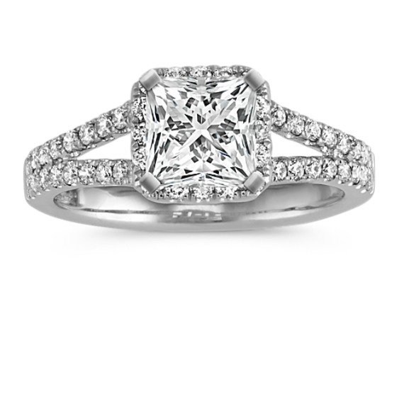 Princess Halo Split Shank Diamond Engagement Ring