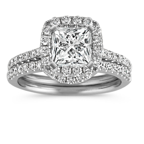 Princess Halo Diamond Wedding Set with Pavé-Setting