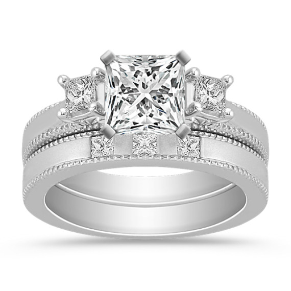 Three-Stone Princess Cut Diamond Wedding Set