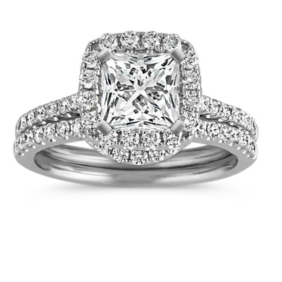 Princess Halo Diamond Wedding Set with Pavé-Setting