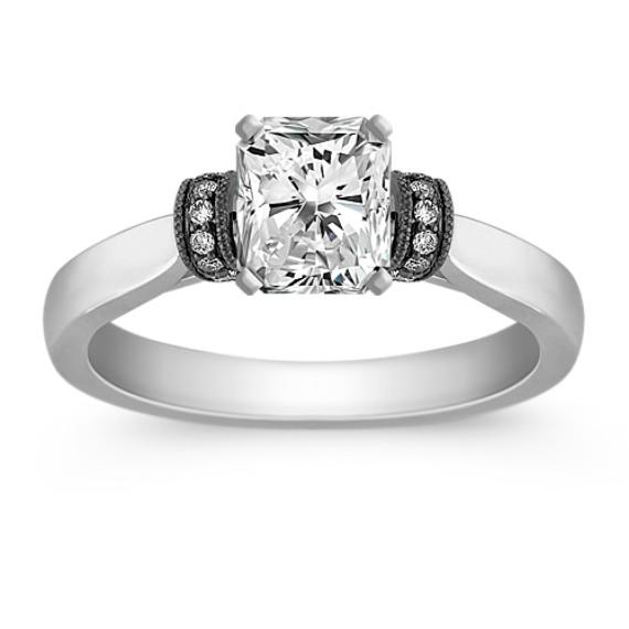 Diamond Engagement Ring with Black Rhodium