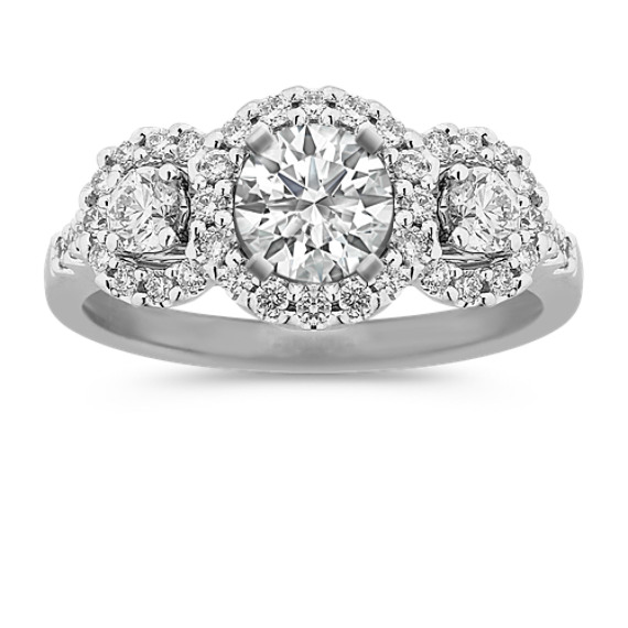 Three Halo Diamond Engagement Ring