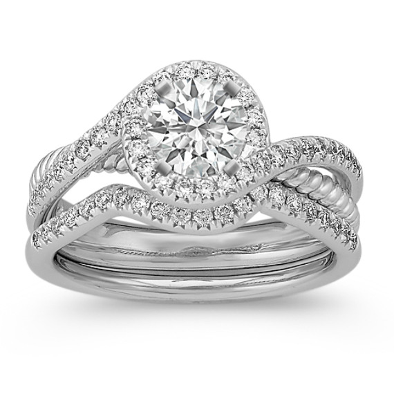 Halo Pavé Set Diamond Split Shank Wedding Set