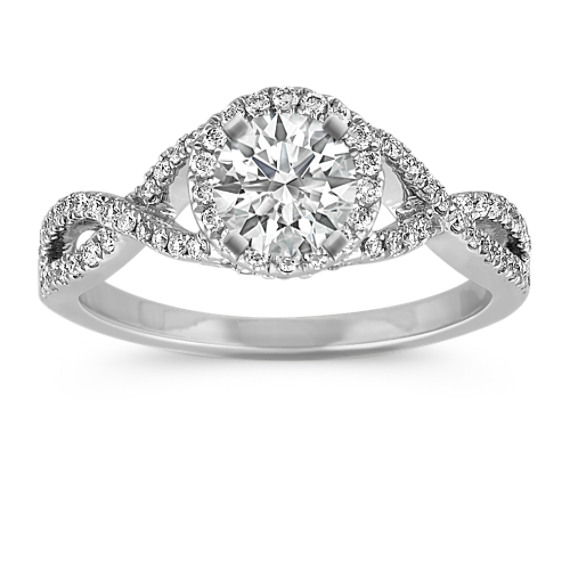 Infinity Swirl Halo Engagement Ring with Pavé Setting