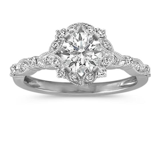round halo vintage diamond engagement ring - Vintage Diamond Wedding Rings