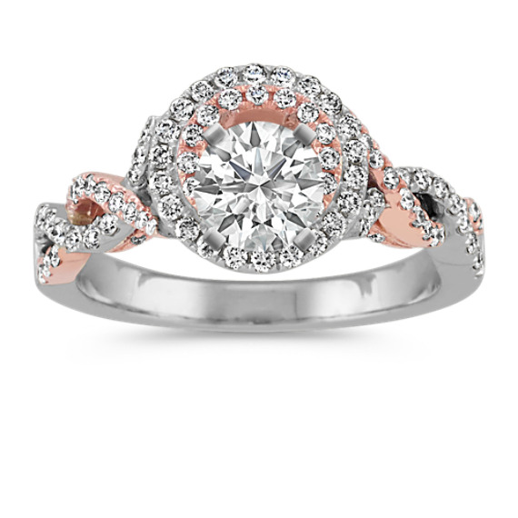 Engagement Rings Kansas City: Double Halo Infinity Engagement Ring In 14k White And Rose