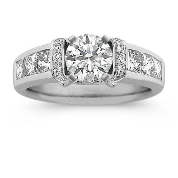 Princess Cut and Round Diamond Engagement Ring