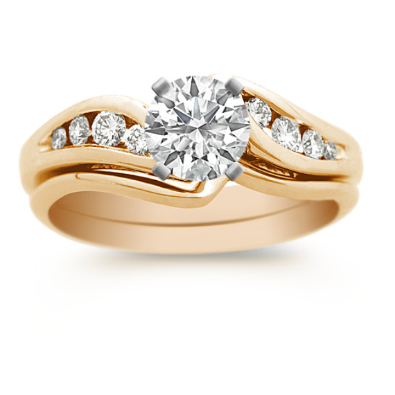 Swirl Diamond Wedding Set with Channel Setting in 14k Yellow Gold