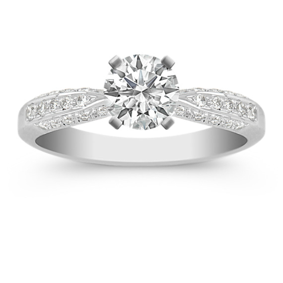 Diamond Platinum Engagement Ring with Pavé Setting