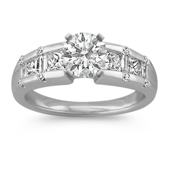 Round, Princess Cut and Baguette Diamond Channel-Set Engagement Ring