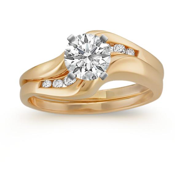 Round Diamond Contour Wedding Set