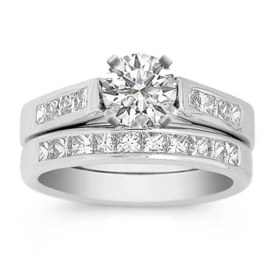 Princess Cut Diamond Wedding Set in Platinum