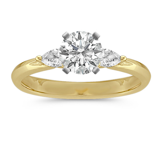 Three-Stone Pear Shaped Diamond Engagement Ring in 14k Yellow Gold