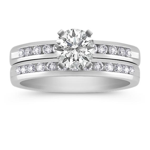Channel-Set Round Diamond Wedding Set