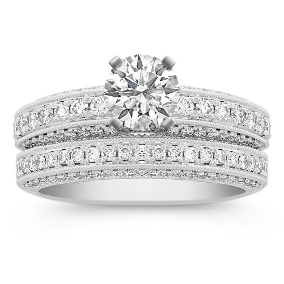 Diamond Platinum Wedding Set with Pavé Setting